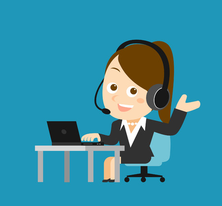 employment issues: Vector illustration - Businesswoman at computer