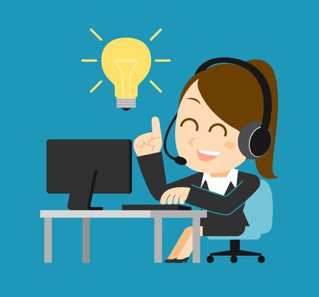 Vector illustration - Businesswoman at computer