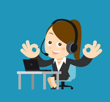 office manager: Vector illustration - Businesswoman at computer