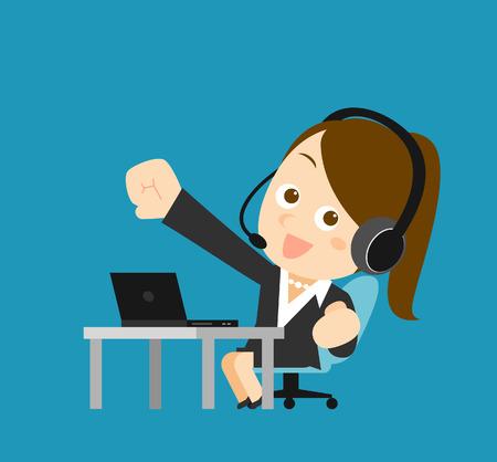 secretary office: Vector illustration - Businesswoman at computer