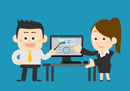 femmes souriantes: Vector illustration - Homme d'affaires et femme d'affaires travaillant à l'ordinateur