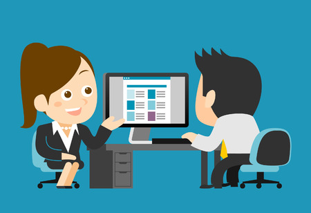 employment issues: Vector illustration - Businessman and businesswoman working at computer Illustration