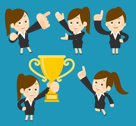 Vector illustration - Successful businesswoman set Vector