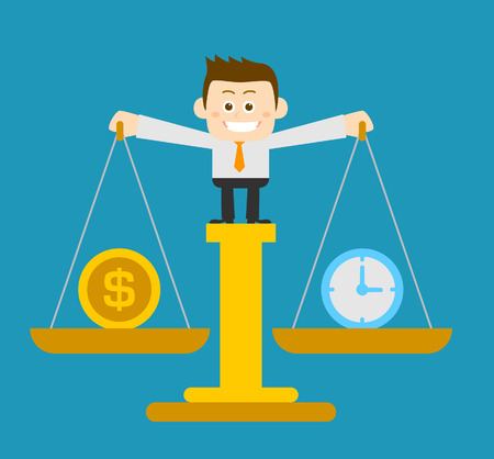 tight: Vector illustration - Businessman holding scale