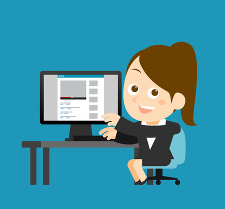 woman typing: Vector illustration  Businesswoman at computer Illustration