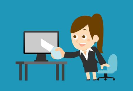 telecommunications equipment: Vector illustration  Businesswoman at computer Illustration