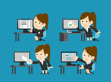 telecommunications equipment: Vector illustration  Businesswoman set