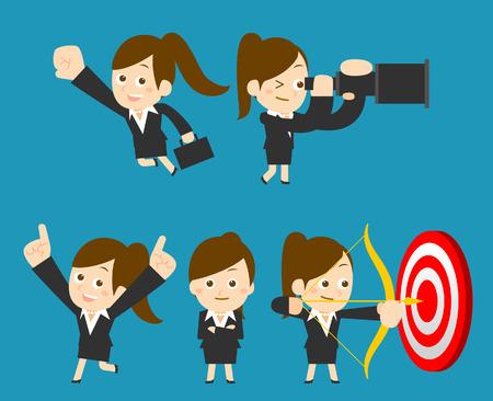 target thinking: Vector ilustraci�n Empresaria conjunto Vectores