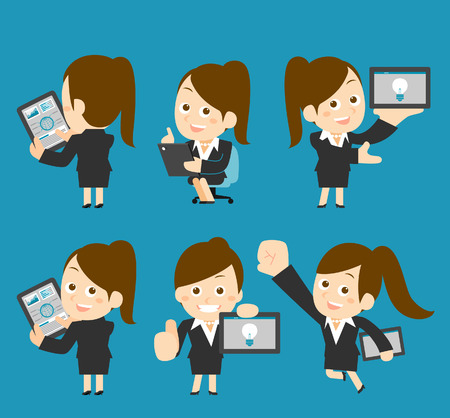 Vector illustration  Businesswoman character holding tablet pc