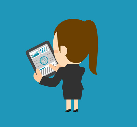 telecommunications equipment: Vector illustration  Businesswoman character holding tablet pc