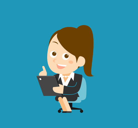 Vector illustration  Businesswoman character holding tablet pc Vector