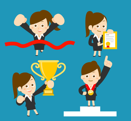 successful student: Vector cartoon illustration  Businesswoman set