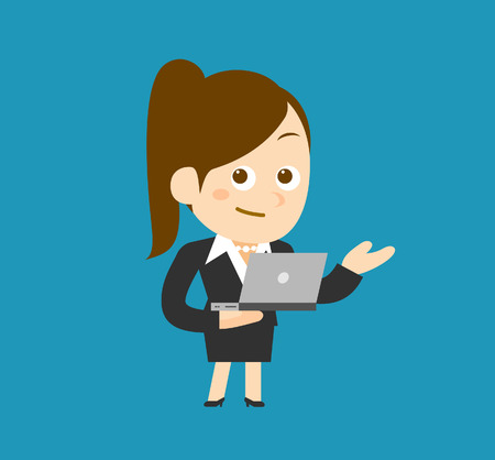 laptop vector: Businesswoman  laptop