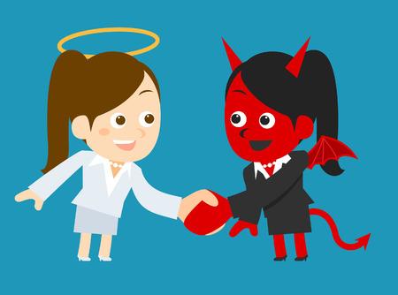 predicament: Businesswoman devil and angel
