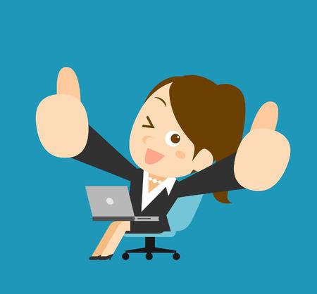 happy business woman: Businesswoman  laptop