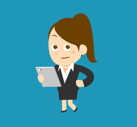 Businesswoman  laptop Vector