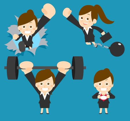 athlete cartoon: Flatten Vector illustration  Cartoon businesswoman character