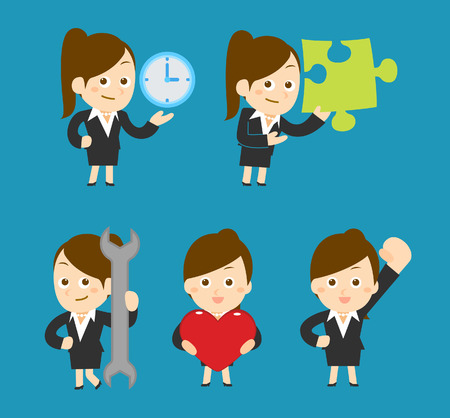 Flatten Vector illustration  Cartoon businesswoman character