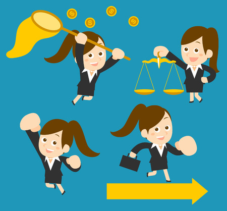 flatten: Flatten Vector illustration  Cartoon businesswoman character