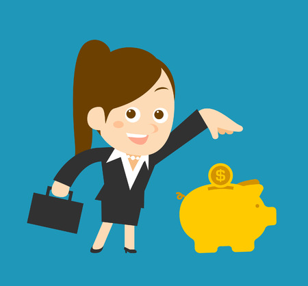 woman holding money: Flatten Vector illustration  Cartoon businesswoman character