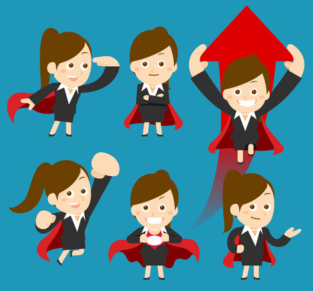 Flatten Vector illustration  Cartoon businesswoman character