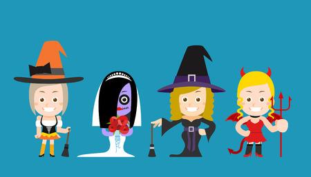 bruja sexy: Ilustración vectorial belleza y bruja sexy de Halloween de