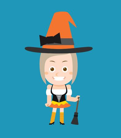 brujas caricatura: Ilustraci�n vectorial belleza y bruja sexy de Halloween de