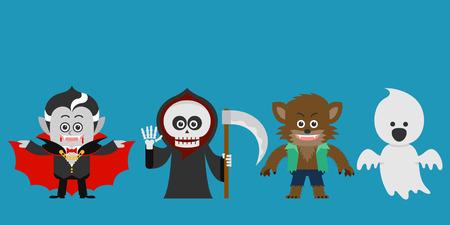 calavera caricatura: Ilustración vectorial de carácter de Halloween