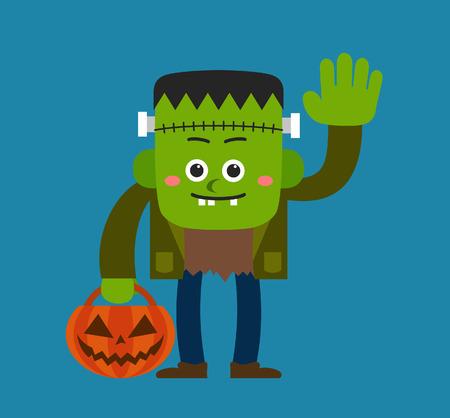 cartoon frankenstein: Cute Halloween character  Frankenstein Illustration