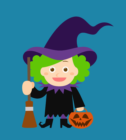stocky: Cute witch holding halloween pumpkin. Festive frame. Vector Illustration