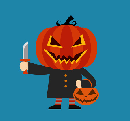 calabaza caricatura: Personaje de dibujos animados de calabaza. Disfraz de Halloween.