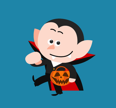 Cartoon Vampire character holding a pumpkin Vector