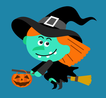 witch on broom: Cartoon Witch character flying with pumpkin
