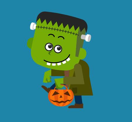 Schattige karakter van Halloween Frankenstein Stock Illustratie