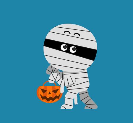 mummified: Vector cute Halloween Mummy holding pumpkin