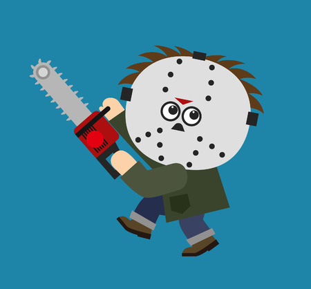 serial: Vector character serial killer with mask holding electric saw