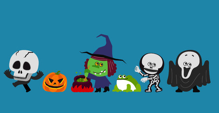 creepy alien: Vector illustration cute Halloween Character