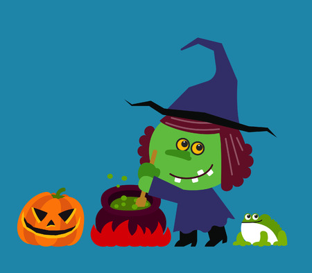 wicked set: Vector illustration cute Halloween Character