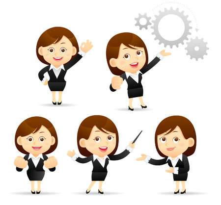 teacher and students: Vector Illustration of cartoon businesswoman set Illustration