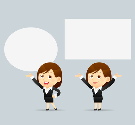 boards: Vector Illustration of cartoon businesswoman explaining and pointing at blank white board placard.