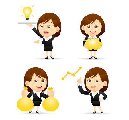 illustration - Businesswoman set Vectores