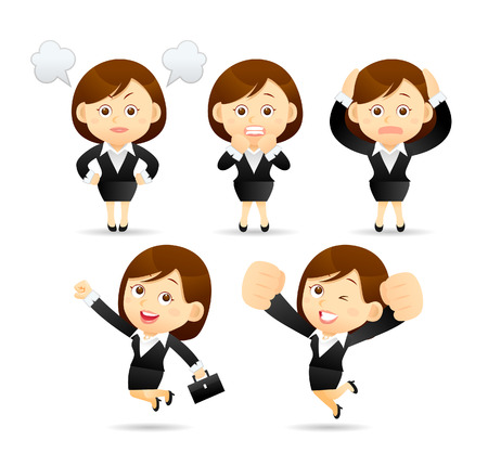 illustration - Businesswoman set Stock Illustratie