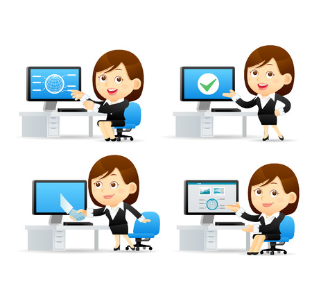 discussion meeting: Vector cartoon illustration - Businesswoman set
