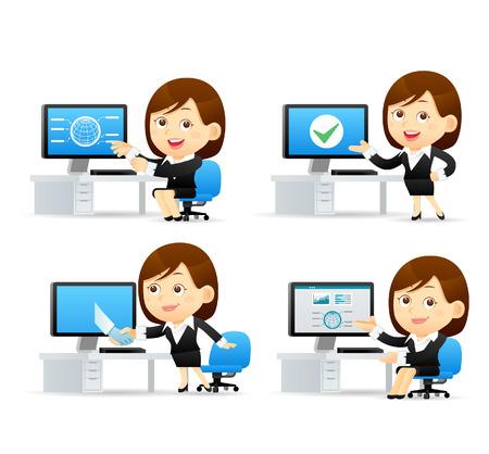 Vector Cartoon Illustration - Geschäftsfrau Set