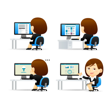 teamwork cartoon: Vector cartoon illustration - Businesswoman set