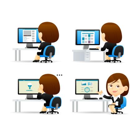 empleado de oficina: Vector ilustración de dibujos animados - conjunto Empresaria