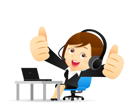 confidant: Vector illustration - Businesswoman at computer