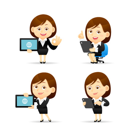 Vector illustration - Businesswoman character holding tablet pc Иллюстрация