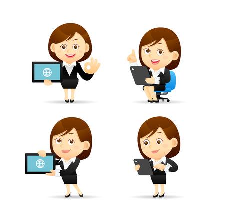 Vector illustration - Zakenvrouw karakter houden tablet pc