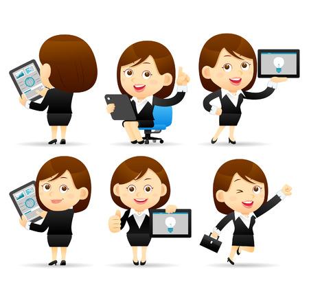 personaje: Ilustración del vector - el carácter Empresaria celebración de Tablet PC